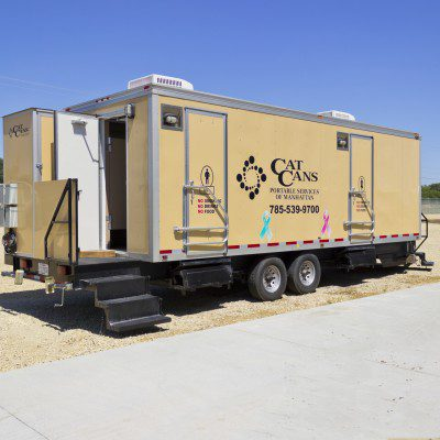 VIP restroom trailer outside