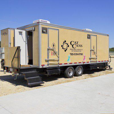 VIP restroom trailer outside